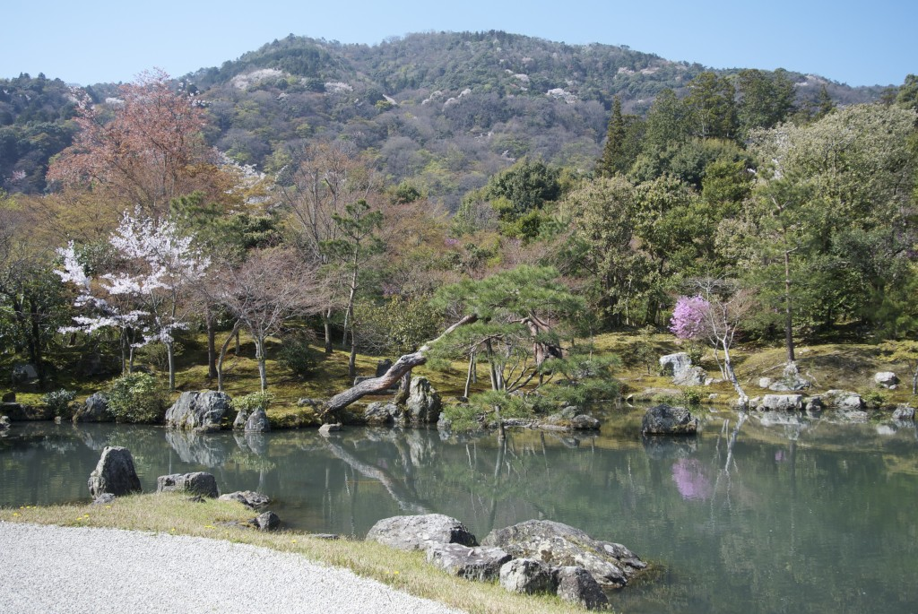 The ? Pond at Tenryuji with its 'borrowed scenery' mountainscape