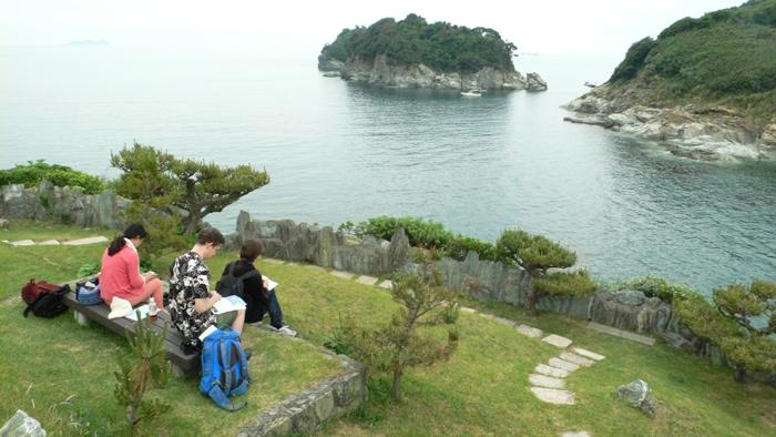 Composing haiku at Wakanoura, Wakayama-ken, 2012