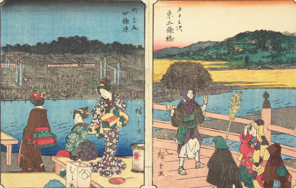 Shijo River Bank in Utagawa Hiroshige Kyoto, no. 56 from the series Fifty-three Stations (courtesy Uni. of Wisconsin-Madison