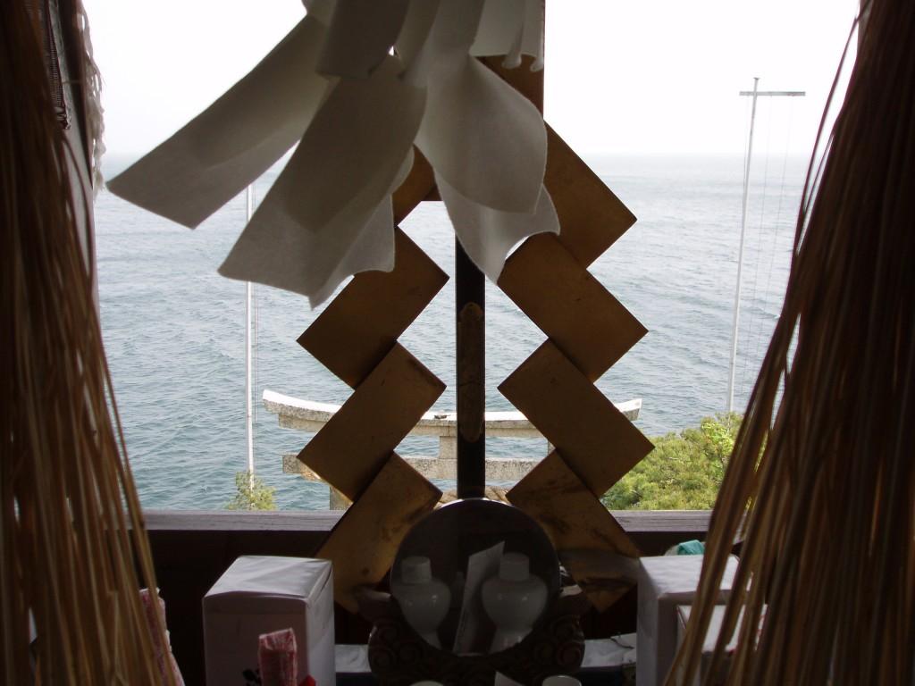 Looking over Lake Biwa from the holy island of Chikubushima